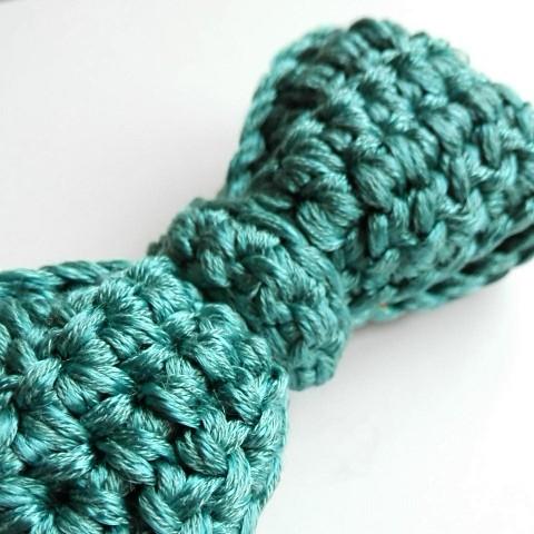 Pajarita tejida a mano de viscosa y algodón en verde mar f977260a417